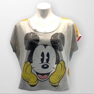DISNEY VINTAGE Mickey Mouse Micro Sleeve Cropped Tee Sheer Rainbow Back Size L